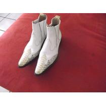 Botas Fashion De Piel, Blancas.