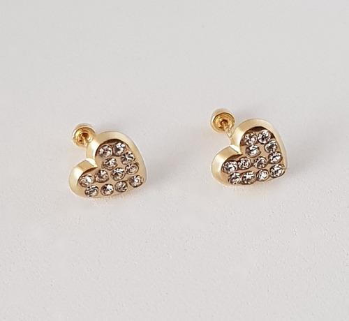 d5043f56f7af Hermosos Aretes Broquel Dama Corazón Zirconias Oro 10k en venta en ...