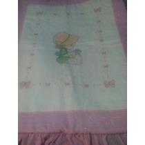 Cobertor Cunero Bordado En Punto De Cruz