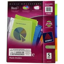 Separador De Plastico Traslucidot-/ Carta 5 Div Multicolor,