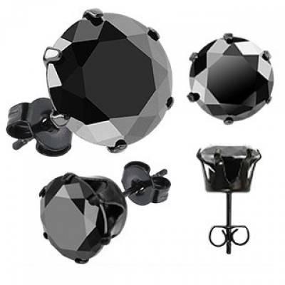 Broqueles Negros con Zirconia Negra de 4mm Diamante