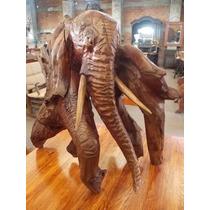 Fina Escultura De Elefante En Raiz De Nogal Estilo Antiguo.