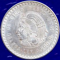 Aaaa 1948 5 Pesos Cuauhtémoc Rara Moneda Mexicana Mbe Plata