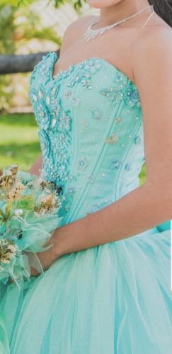 Hermoso Vestido 15 Años Color Azul Turqueza Todo Completo En