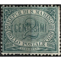 1822 San Marino Scott #1 Numeral 2c Mint L H 1877-99