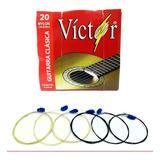 Cuerdas Guitarra Acústica 6 Piezas Nylon Negro Víctor 20