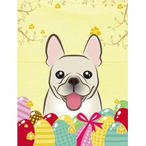 Bulldog Francés De Huevos De Pascua Bandera Canvas Tamaño
