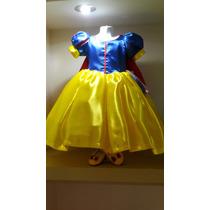 Vestido Princesa Disfraz Blanca Nieves Con Zapatos