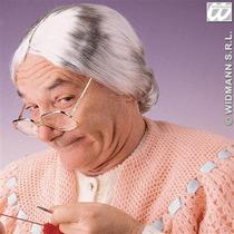 Granny Traje - Señoras Gris Vieja Dama Abuela Bollo Peluca