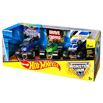 Hot Wheels Monster Jam Grave Digger 3-pack (escala 1:64)