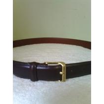 Cinturon Coach Negro De Piel Para Hombre Hebilla Dorada