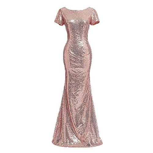 598358745 Vestido De Noche Largo Rose Gold Honey Qiao en venta en Playas De ...