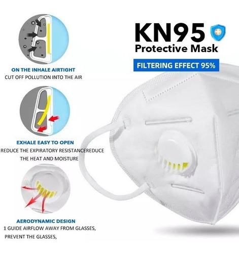 Cubrebocas N95 Válvula 5 Capas Mascarilla Certificada Kn95