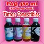 Tintas Comestibles Paq 480 Ml 120 Ml Por Color Cmyk