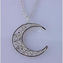 Fino Detalle Dije De Luna Elegante Doble Vista Plata Solida