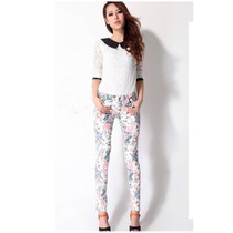 Suku 60451 Pantalones Skinny Decorado Flores Moda Japón $569