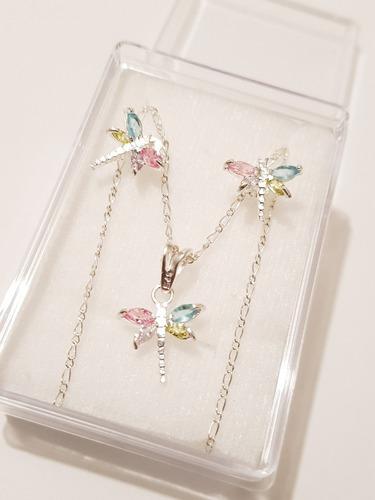108d4557fcb3 Collar De Libelula Cristal Con Aretes De Plata Envio Gratis