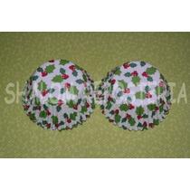 *capacillos Blancos Hojas Y Cerezas Navidad Cupcake Fondant