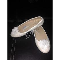Zapatos Flats Balerina Niña Blanco De Encaje Fiesta Nuevos