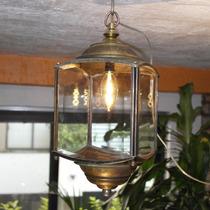 Lámpara Vintage Antiguo Farol De Metal Con Foco Edison