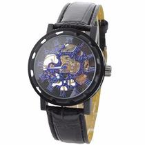 Reloj Cuerda Esqueleto Tipo Body & Soul Azul/negro Unisex