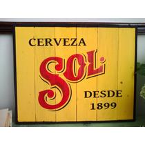 Cuadro Anuncio Letrero Vintage Sol Cerveza Madera Bar