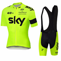 Uniforme Ciclismo Sky 2016 Fluo Yellow Jersey + Short Bib