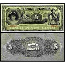 Bk-son-5 Billete Del Banco De Sonora De 5 Pesos