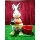 Conejo De Pascua, Maceta, Figura De Resina, 36x23.5x20cm