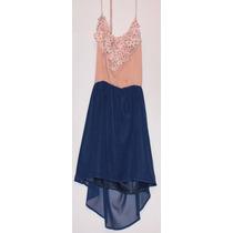 Vestido Rosa Con Cola Azul Marino
