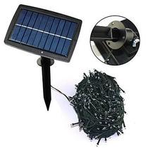 Serie Solar Led Navideña Recargable 18 Mts 100 Leds Blanco F