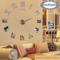 Reloj Diy 3d Real 120 Cm Tipo Espejo Adherible A Pared