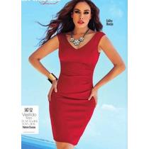 Vestido Rojo Midi Drapeado S Cklass Studio Strech Licra