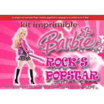 Kit Imprimible Barbie Popstar Rock Tarjetas Cumpleanos
