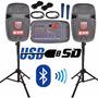 Par De Bafles Bocinas Mezcladora Amplificada Usb Microfono