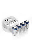 Cargador De Pared + 4 Baterias Cuadradas 9 Volts Recargables