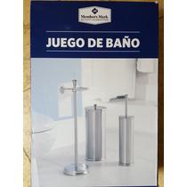 Juego Baño Members Mark Escobilla Portarollos Y Guarda Papel