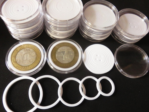 20 Capsulas Moneda Arillo Ajustable 19 24 29 34 39 46 Mm #2