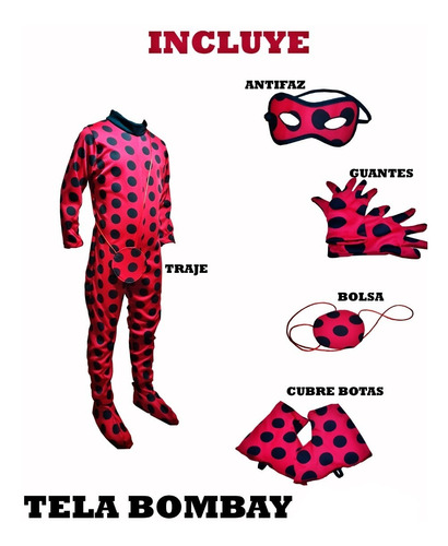 Disfraz Tipo Lady Bug Traje Miraculus Personaje Caricatura