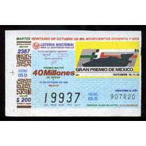 Billete De Lotería Gran Premio De México 1986