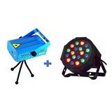 Proyector Luz Láser Portátil + Luz Para Escenario 18 Leds