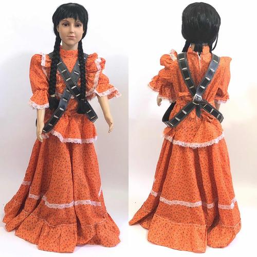 Vestido De Adelita Para Revolucionaria Naranja Con Carr