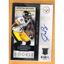Justin Brown Tarj C Autografo Contenders 2013 Steelers Rnt