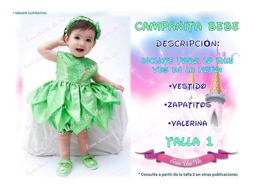 Vestido Campanita Bebe Disfraz Excelente Calidad Princesa En