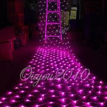 Luz 300 Led En Red Rosa 4x1.5 Mts Extension Navidad Fiesta