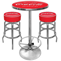 Juego De Mesa 2 Bancos Diseño Coca Cola Taburetes Hm4