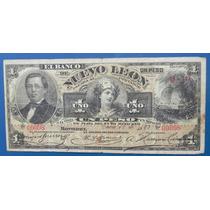 Billete Banco De Nuevo Leon 1 Peso 1893 Firmado