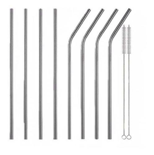 Popotes Metalicos Con Funda Kit 8 Piezas + 2 Cepillos
