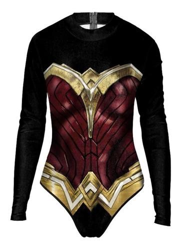 nuevo producto 297ec f5538 Traje Baño Mangas Wonder Woman Mujer Maravilla Cosplay Dc, Compra y Venta