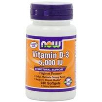 Now Foods Vitamina D3 5000 Ui Nuevos Mega Tamaño Del Paquete